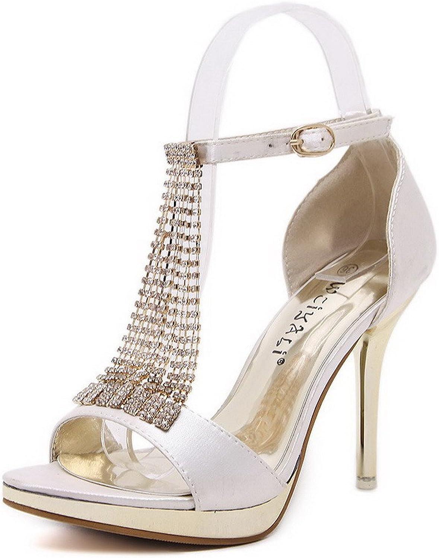 AmoonyFashion Women's Peep Toe High-Heels Soft Material Solid Buckle Sandals