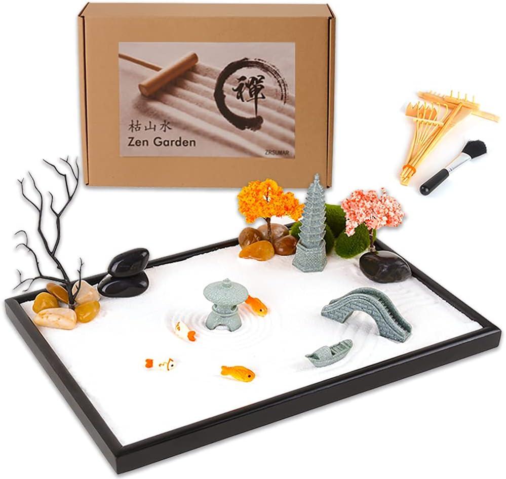 ZRSUMAR Zen Garden Kit for Desk - 13.8 × 9.5 Inch - Mini Zen Garden Accessories with Sandstone Pagoda,Bridge,Lamp,Boat,Cherry Tree,Bamboo Tools for Table Decor Meditation Gifts