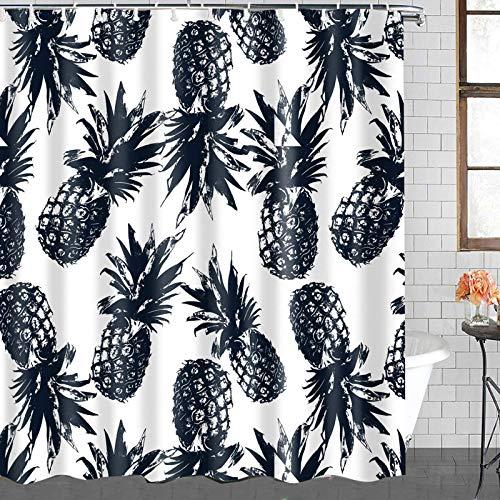 CIUJOY Ananas-Duschvorhang, bunte Stoff-Duschvorhänge für Badezimmer, langlebig, wasserdicht, Duschvorhänge mit 12 Haken (183 x 183 cm)