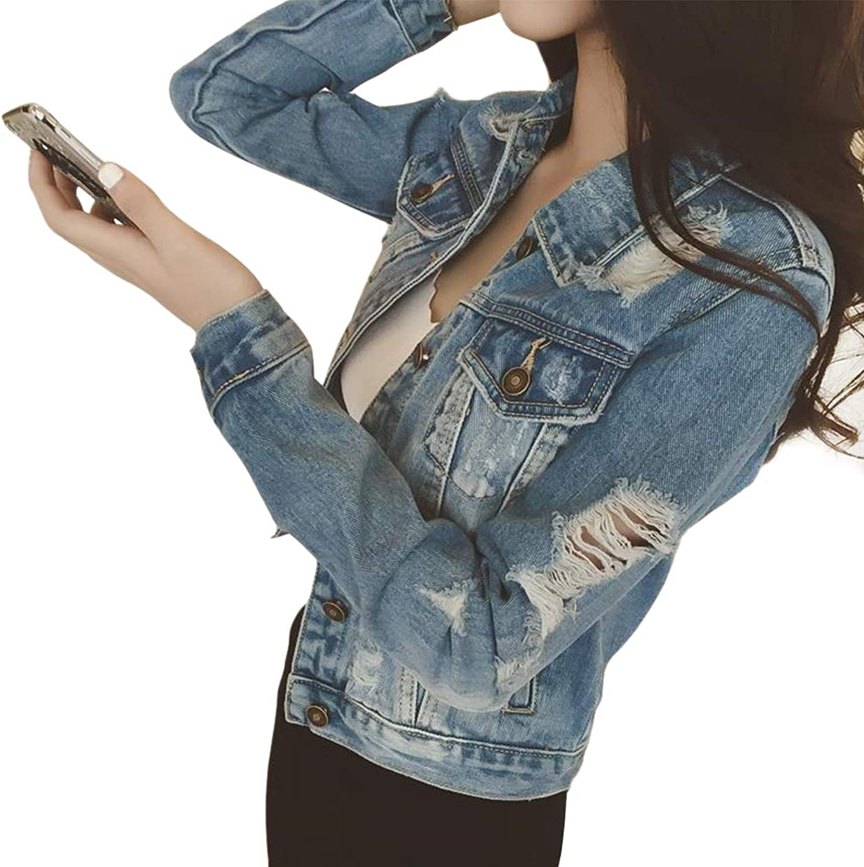 NewCime Women's Slim Washed Destroyed Pocket Button Shirt Light bluee Denim Jean Jacket