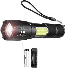 Zaklamp, super helder, LED, zaklamp, met COB-kant, 4 lichtmodi, LED, waterdicht, voor camping, avontuur, nacht, paardrijde...