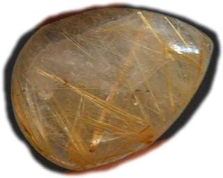 Cabujón de rutilo dorado, piedra preciosa natural del rutillo, forma redonda 17x17x5mm, 16Ct K-02899