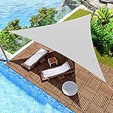 Windscreen4less 12' x 12' x 12' Sun Shade Sail UV Block Fabric Canopy in Light Grey Triangle for Patio Garden Patio Customized
