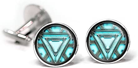 SharedImagination Arc Reactor Cufflinks, Iron Man Jewelry, Iron Man Cufflinks, The Avengers Cuff Links, Iron Man Tie Clip Set Option