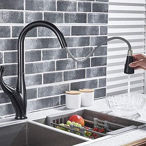 Grifo de la cocina sensor de cromo negro agua de la cocina grifo de la cocina extraiga dos modos, tipo de rociador tipo de interruptor táctil instalación de cubierta grifo híbrido