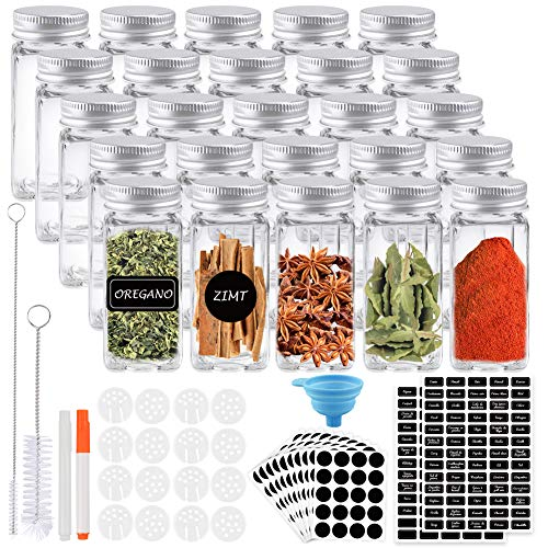 K Kumeed – Lote de 25 tarros de especias para especias de 120 ml con tapa hermética, pizarra y etiqueta transparente, insertos para batidos y embudo grande