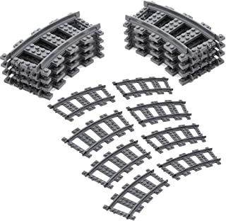 Feleph Train Track Set, 16 PC City RC Curved Trains Rail Non-Powered Rail Compatible for Major Brands Train Tracks Track R...