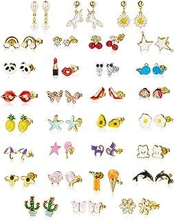 minihope 30 Pairs Earrings Kids,Hypoallergenic earrings for girls sensitive ears, Fashion earrings for teen girls,earring ...