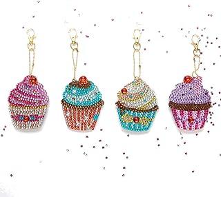 🍀Libobo🍀4PC DIY Special Shape Full Diamond Diamond Pattern Key Ring Set Diamond Embroidery