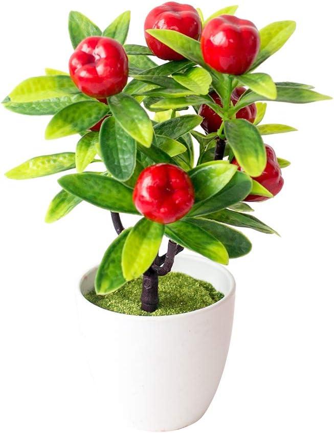 Desktop Decor Artificial Potted Fruit Tree Decorative Fake Plant for Office Home Decoration Photograph Props Apple#