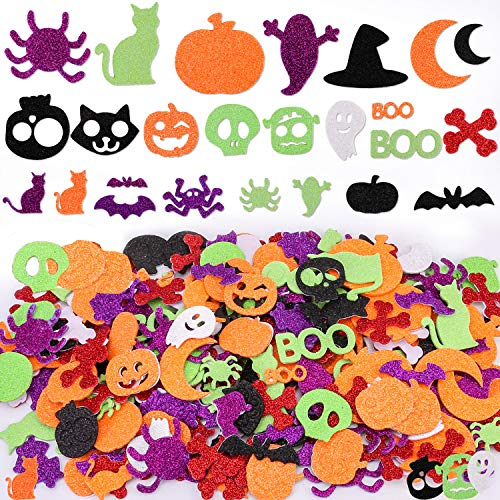 Konsait 500pcs Glitter Halloween Foam Stickers EVA Self-Adhesive Shapes Craft Shapes Stickers Party Decoration Supplies Spider Pumpkin Skull Ghost Witch Stickers for Kids for Envelope Scrapbooking