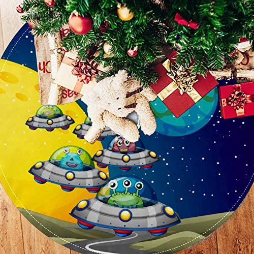 BONIPE Christmas Tree Skirt 33 Inches,Funny Spaceship Earth Monster Astronaut Design Rustic Xmas Tree Skirt for Holiday Party Ornaments Home Decoration