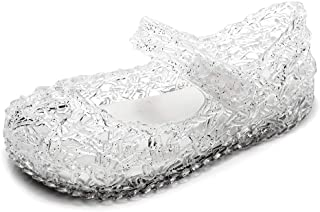 AlwaysU Girls Mary Jane Flat Sandals Princess Ballet Dance Party Cosplay Glitter Jelly Shoes