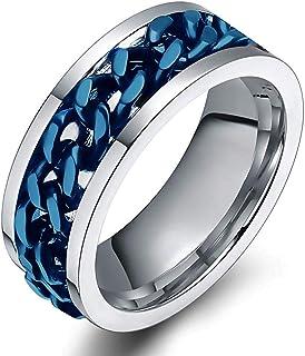 SL SWEETLOVEJEWELRY الفولاذ المقاوم للصدأ 8 مم خواتم للرجال في المنتصف سلسلة دوار خاتم الزفاف