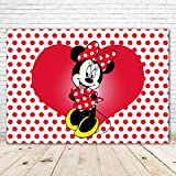 Minnie Mouse Backdrop Red and Black 7x5ft Classic Minnie Mouse Background for Birthdays Red Polka Dots Sweet Heart Minnie Baby Shower Backgrounds Backdrops for Party