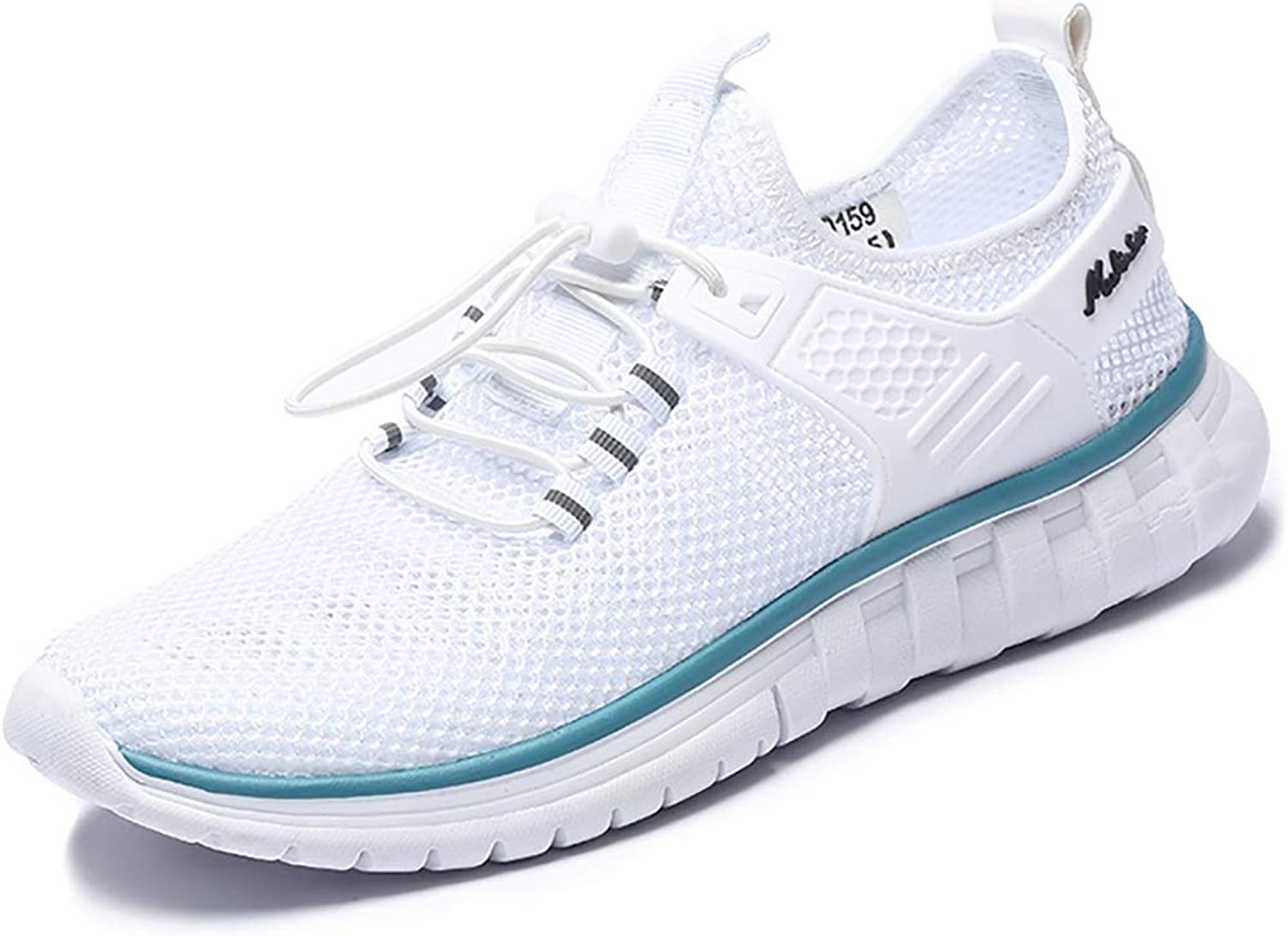 GAIQIN Casual shoes Men's Lace-up shoes Sports Casual Breathable Quick-drying Lightweight Running Mesh shoes (color   White, Size   38)