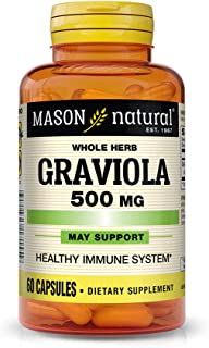 Mason Natural, Graviola Sour Sop Capsules, 500 Mg, 60 Count, Herbal Dietary Supplement Supports Healthy Immune System, May...