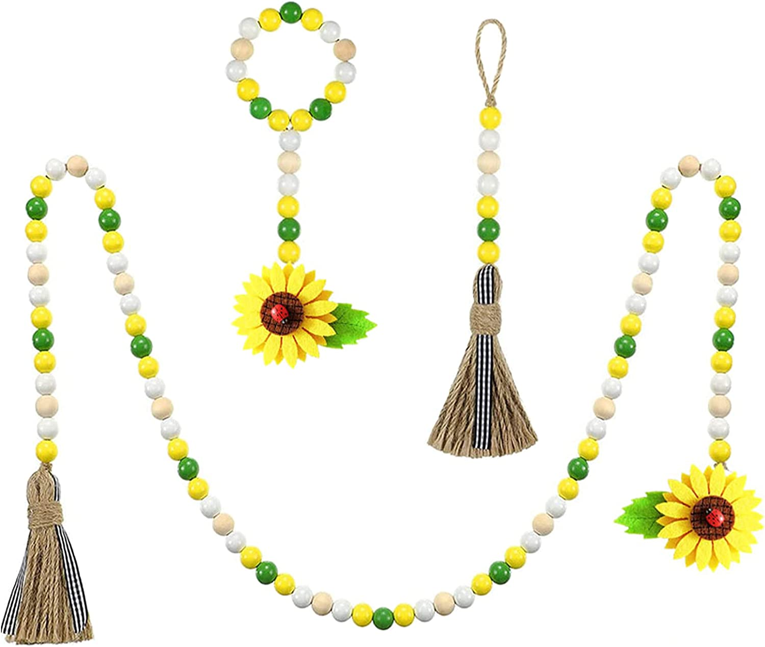HODUP 3Pcs Wood Bead Animer and price revision Garland Tassels W Farmhouse Sunflower 55% OFF with