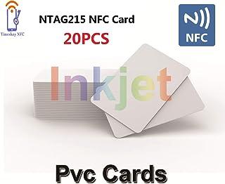TimesKey 20 X Tarjetas de Inyección de Tinta NFC con NFC Card Chip NXP NTAG215 Imprimible Con Impresoras de Inyección de Tinta Epson y Canon, CR80 30MIL,Tarjeta en Blanco,Funciona Con Amiibo y TagMo