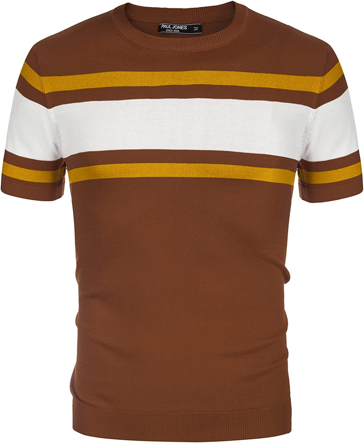Mens Vintage Shirts – Casual, Dress, T-shirts, Polos PJ PAUL JONES Mens Casual Crew Neck Pullover Short Sleeve Knitted Summer Pullover Sweaters  AT vintagedancer.com