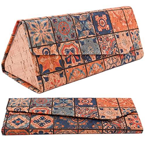 CORKCHO Estuche De Gafas Plegables, Funda De Gafas De Corcho Rígida Rectangular, Funda Dura para Guardar Las Gafas, 16.5x7x1.5cm, Ecológicas, Diseños 12