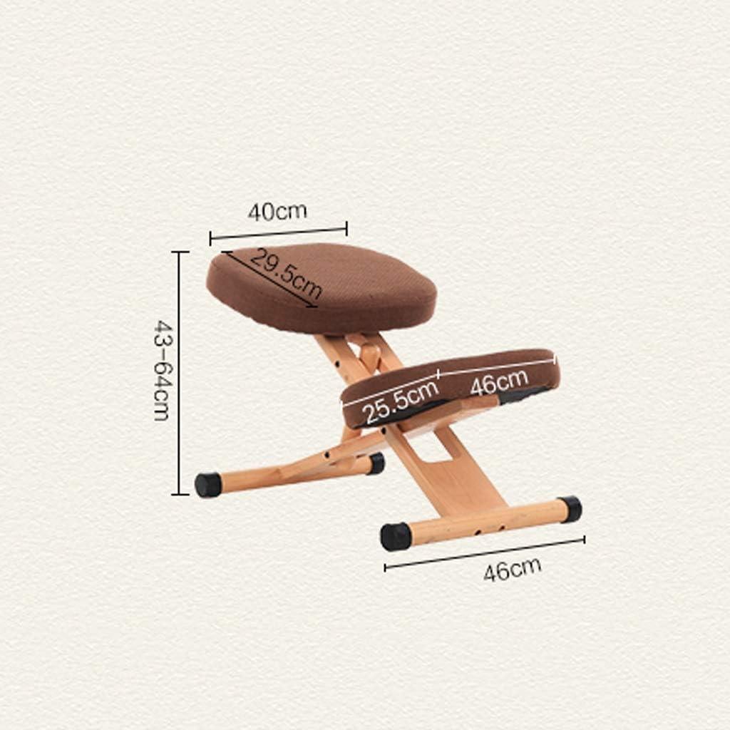 AYHa Agenouillé fauteuils ergonomiques permet de réduire la douleur au bas du dos orthopédique du genou Tabouret réglable en hauteur, 4 couleurs disponibles,marron Kaki