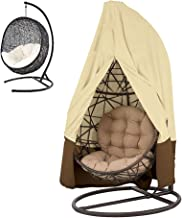 "LITTLEGRASS Hanging Chair Cover Patio Egg Swing Chair Covers Waterproof Heavy Duty Oxford Outdoor Furniture Protector 75""HX45""D, Beige"