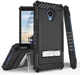 TJS Case for Alcatel Avalon V 5059S/Alcatel 1X Evolve/Alcatel IdealXtra 5059R/Alcatel TCL LX A502DL Metal Kickstand Dual Layer Hybrid Shock Absorbing Resist Drop Protector Armor Cover Phone (Black)