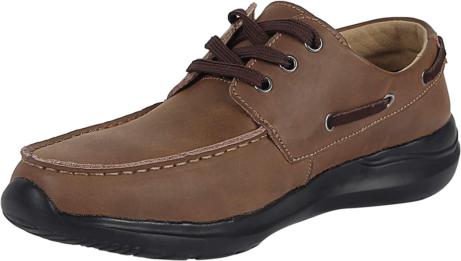 OUTDOOWALS Mens Boat shoes Lightweight Leather Deck shoes