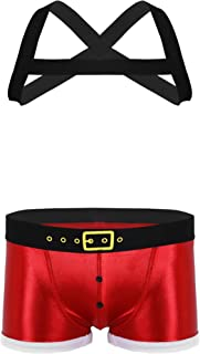 MSemis Mens Christmas Costume Sexy X-Shape Shoulder Chest Harness with Boxer Shorts Set