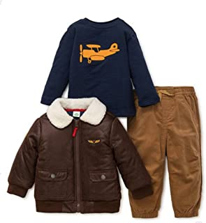 3-Piece Aviator Bomber Jacket, Navy Shirt, and Corduroy Pant Set in Brown