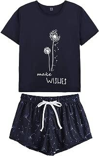 Pajamas for Women Short Sleeve Top with Pants Summer Sleepwear Pjs Sets