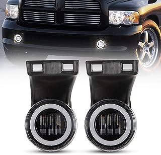 BUNKER INDUST Dodge Ram LED Fog Lights with Daytime Running Lights Set,1 Pair Clear Lens Fog Lamps Replacement for 1994-2002 Dodge Ram 1500 2500 3500