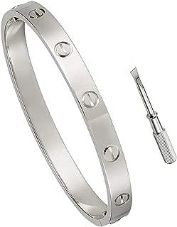 Titanium Steel Love Bracelet with Screwdriver Can Wear in Shower(silver 7.5inch)
