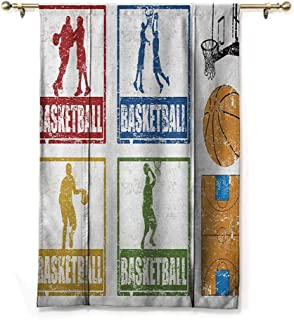 Andrea Sam Rod Pocket Blackout Curtains Basketball,Collection of Vintage Rubber Stamp Print Illustration Basketball Players, Navy Green Red,48