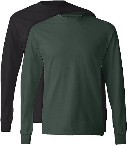 , 5586, Homme, T-shirt ¨¤ hommeches longues sans ¨ tiquette, 1 Noir + 1 Deep Forest, Moyen