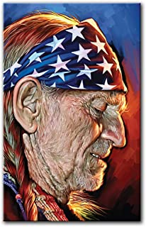 """August Studios Willie Nelson Canvas Art Giclee Print Wall Decor Poster Signed Artwork # 1 (Small 14"""" x 9"""")"""