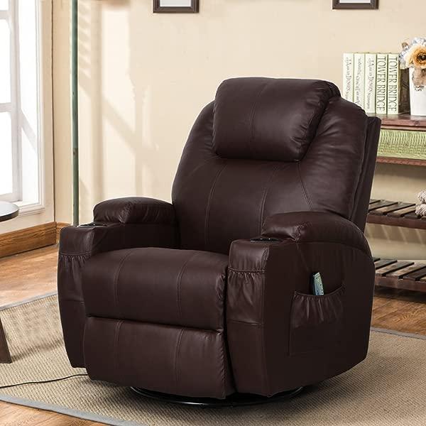 Esright Massage Recliner Chair Heated PU Leather Ergonomic Lounge 360 Degree Swivel Espresso