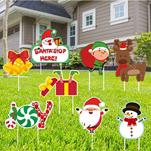 SLKing Store Christmas Outdoor Decorations Yard Signs,8 Pcs Christmas Props Yard Stakes for Xmas Lawn Yard Outdoor Decor, Holiday Garden Decorations