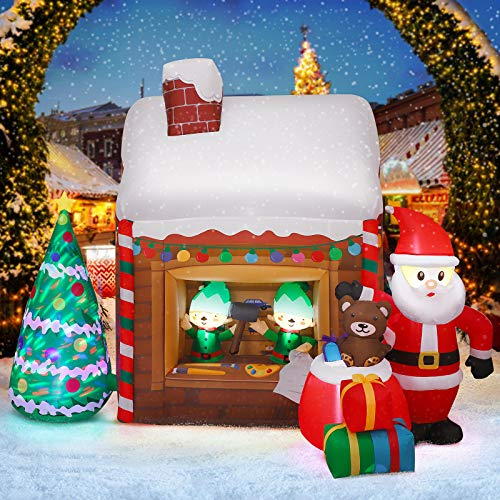 YUNLIGHTS 6.5FT Long Christmas Inflatables Outdoor, Blow Up Christmas Decor with Colorful Christmas Tree Santa Claus Elf Gifts, Built-in Rotatable Lights with Tethers, Stakes for Yard, Garden, Lawn