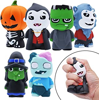 JOYIN 6 Pack Halloween Themed Squishy Toys Slow Rising Stress Relief Super Soft Squeeze Kawaii Cute Halloween Friends Characters Toys for Boys Girls