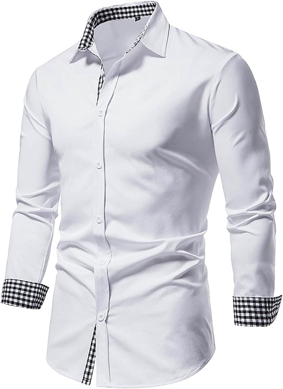 AMTF 2021 Mens Regular Standard-Fit Fashion Splicing Plaid Print Shirt Classic Slim Button Lapel Shirt Long Sleeve Top