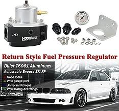 PTNHZ Aluminum Return Adjustable Style Billet By-Pass Bypass Fuel Pressure Regulator AN6/AN8 With Gauge Oil Gas Diesel (Silver)