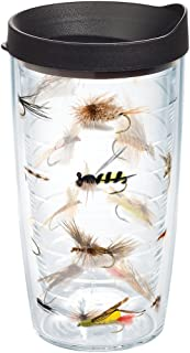 Tervis 1090170 Fish Flies Tumbler with Wrap and Black Lid 16oz, Clear