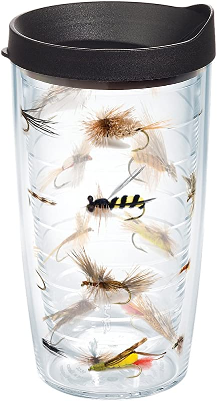 Tervis 1090170 Fish Flies Tumbler With Wrap And Black Lid 16oz Clear