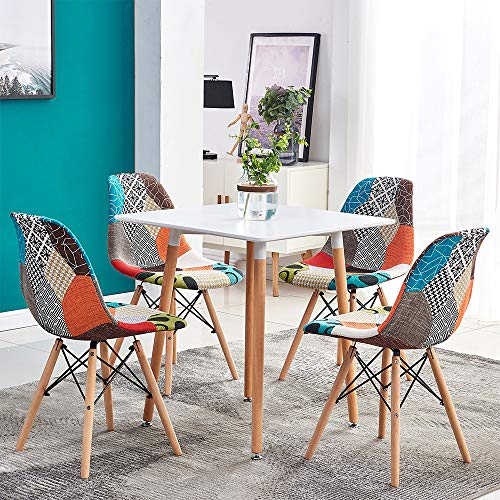 HomeSailing Small Wood Dining Table and Chairs Set of 4, 5 Pieces Kitchen Dinette Set 4 Occasional Patchwork Fabric Chairs with Square Table for Small Apartment