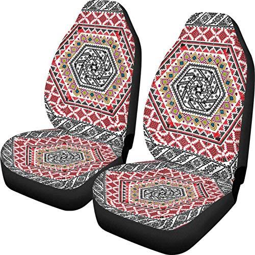 Inca Tocapu Print Fundas universales de 2 piezas para asientos delanteros para mujeres y hombres, fundas para asientos de cubo, protectores de mantas para automviles, SUV y camiones