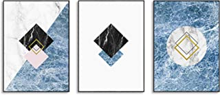 Hepix Marble Wall Art Blue and Black Marble Diamond Canvas Wall Decor, Black Frame Wall Paintings for Kitchen Bedroom Living Room Modern Home Decorations 13