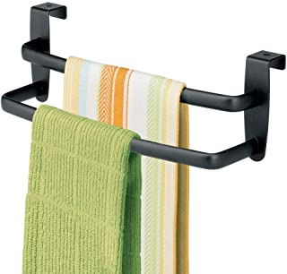 mDesign Modern Kitchen Over Cabinet Strong Steel Double Towel Bar Rack - Hang on Inside or Outside of Doors - Storage and Organization for Hand, Dish, Tea Towels - 9.75