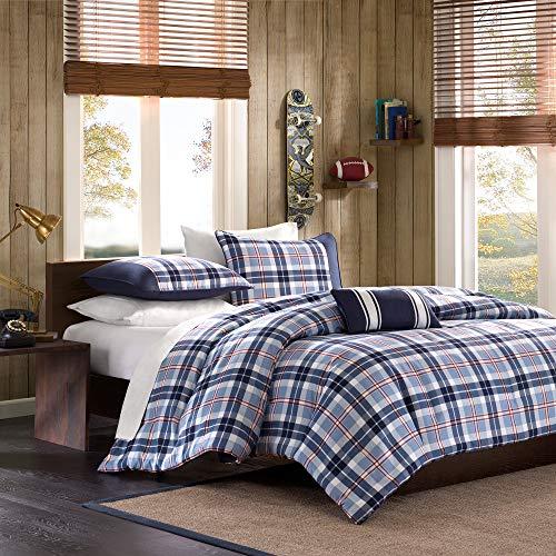 MIZONE Cozy Comforter Set Cabin Lifestyle Plaid Design All Season Bedding Matching Shams, Decorative Pillow, Full/Queen, Elliot Blue